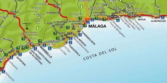 Kort Over Spanien Costa Del Sol Costa Del Sol Spanien